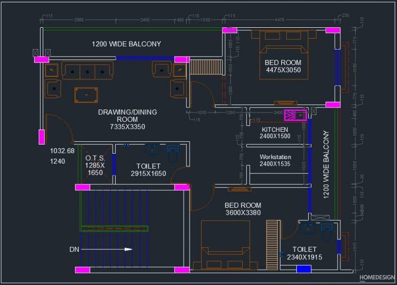 2bhk home design