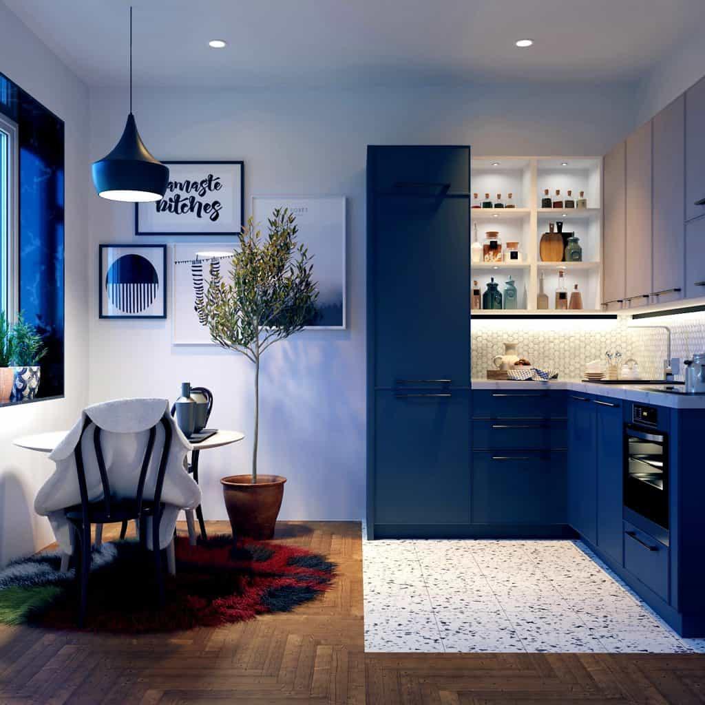 Blue L shaped Kitchen design