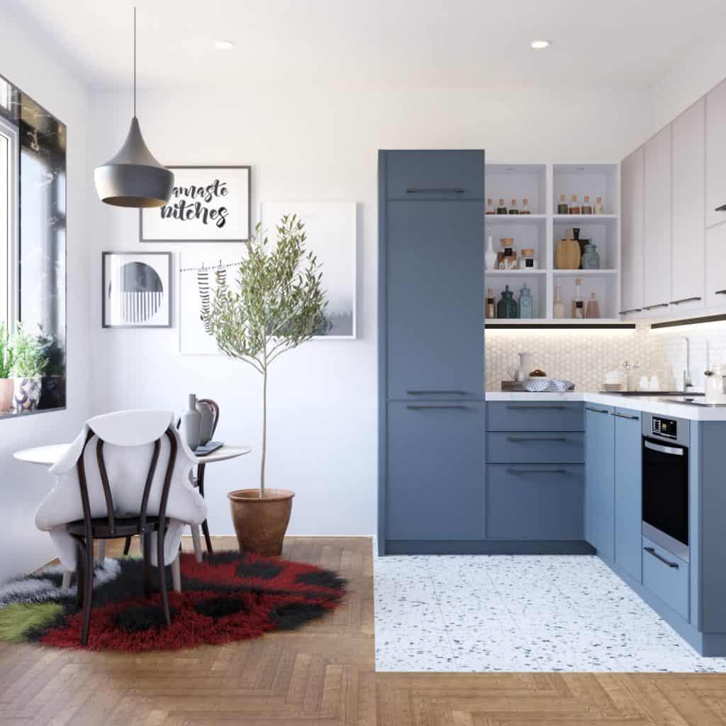 Blue small kitchen design
