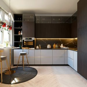 White and brown kitchen design L shaped